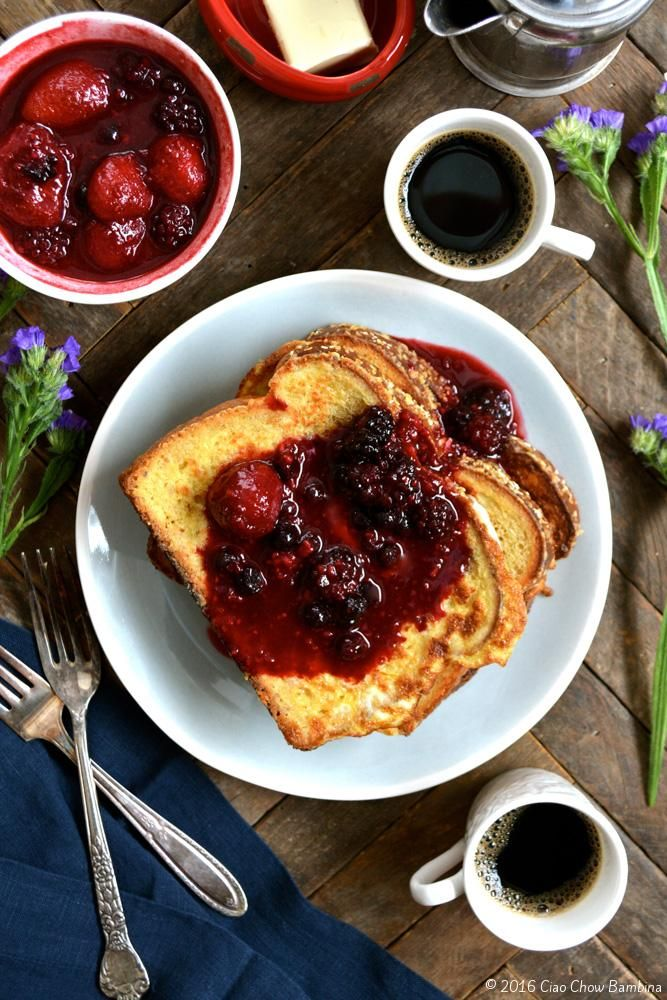 RumChata French Toast with Warm Berry Compote ciaochowbambina.com