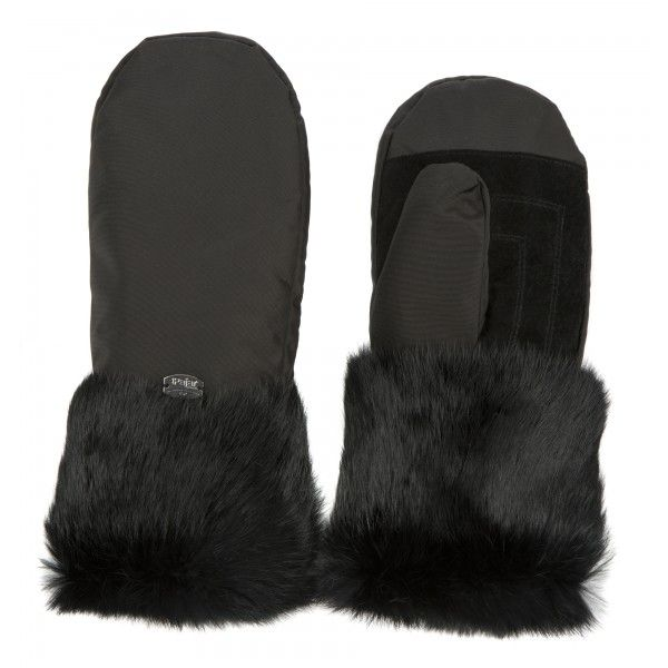 Oxford Mitts With Fur Trim And Suede Applique