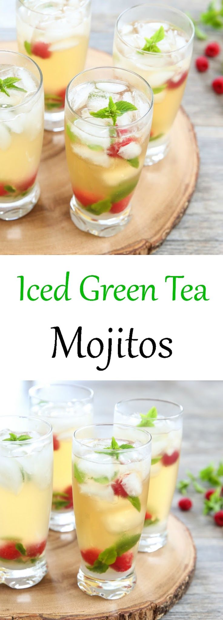 Iced Green Tea Mojitos. A twist on the classic that is both thirst-quenching and delicious. A great summer cocktail.