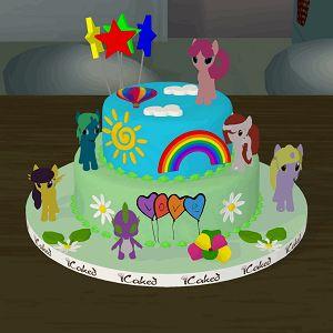 my little pony doğum günü pastası, özel tasarım çocuk pastaları, icaked mylittle pony özel pasta, ankara butik pasta