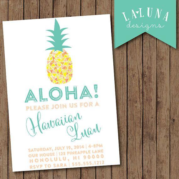 hawaiian luau invitation luau party pineapple by