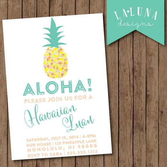 Hawaiian Luau Invitation Luau Party Pineapple by LaLunaDesigns, $17.00