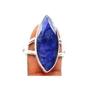Sz 9, Genuine INDIAN SAPPHIRE Dark Blue Oblong Gemstone, 925 Solid Sterling Silver Statement Ring Sz9 Jewellery!! by Ameogem on Etsy