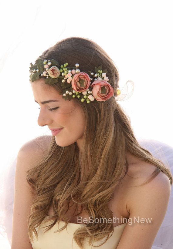 Pink Wedding Flower Crown Woodland Floral Halo Boho Hair Wreath Accessory With