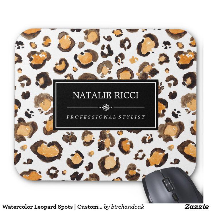 Watercolor Leopard Spots   Custom Name Mouse Pad