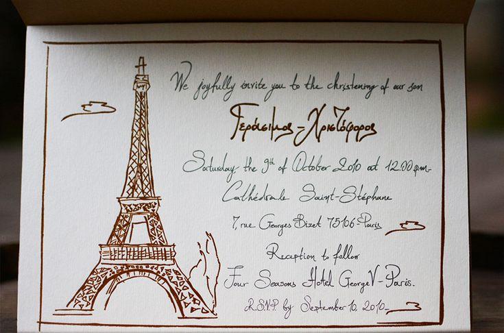 Handwritten baptism invitation capturing perfectly the destination in Paris