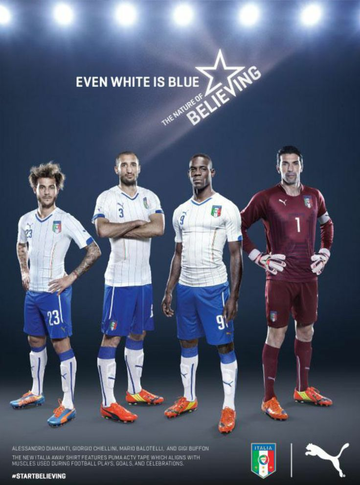 Team Italia sporting the Puma Italy World Cup 2014 Soccer Jersey (Away): http://www.soccerevolution.com/showlist.php?searchwords=Puma+Italy