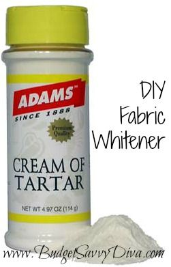 It is SO simple and can't believe that it works. You take one cup of cream of tartar  and three cups of water. Mix together in a clean bucket and let your-at one time white shirts- soak and enjoy a fresh white shirt after washing in a regular cycle.