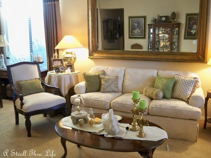 A stroll thru life living room act two apple green a for Apple green and brown living room