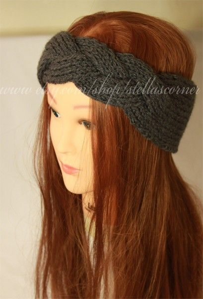 Headband+Knit+Headband+Gray+Braided+Headband+Gray+by+StellasCorner,+$30.00