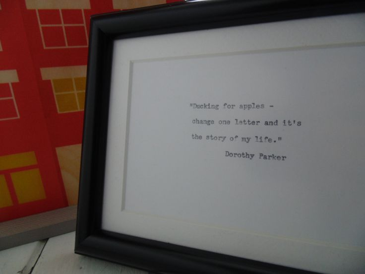 Framed Dorthy Parker quote on Ducking by UnclassyClassics on Etsy