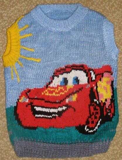 Disney Cars MC Queen intarsia sweater pattern