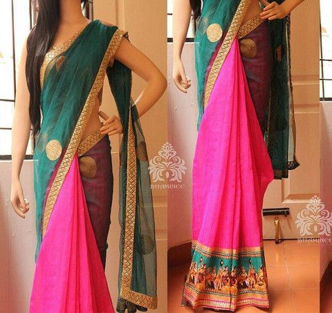 Rama green and pink designer georgette