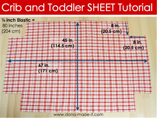 "TUTORIAL: Crib Bed SHEETS DIY Need 45"" x 67"" with 8""x8"" cut out from each corner:  sew corners and then casing in lower edge for elastic (need 80"" elastic)"