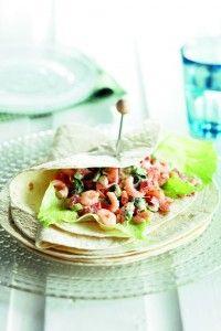 Wrap met romige tomaat en roze garnalen - Boodschappen