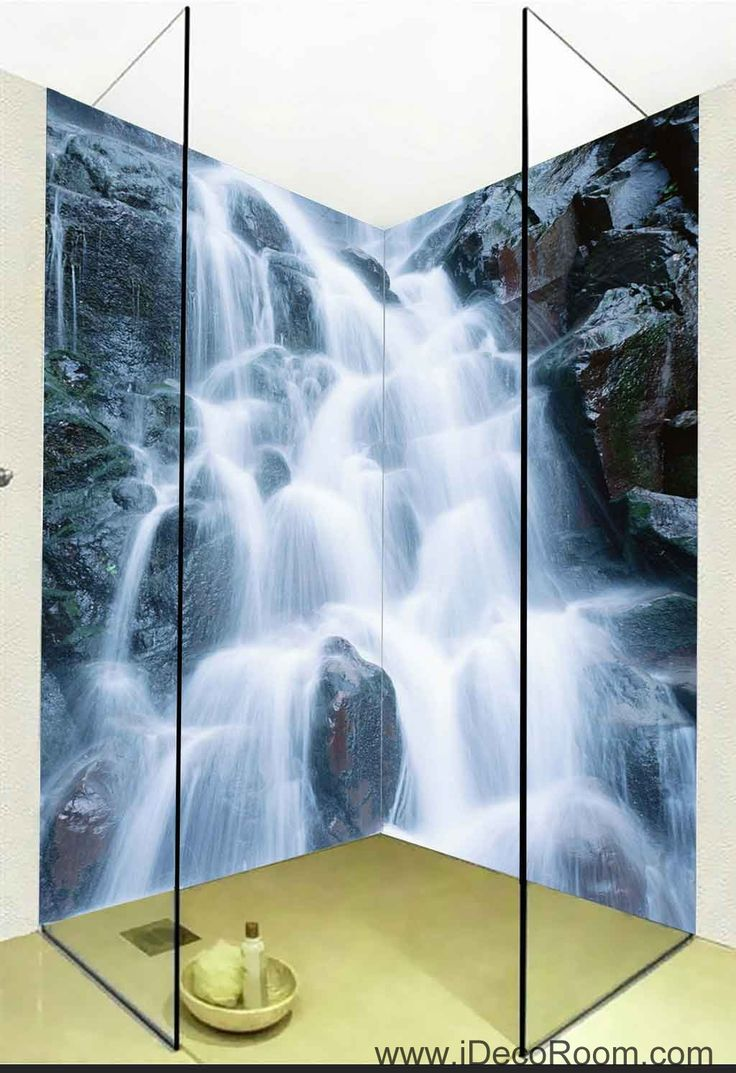 16 best 3d bathroom decor images on pinterest 3d wallpaper 3d wallpaper huge fall rocks wall murals bathroom decals wall art print home office decor