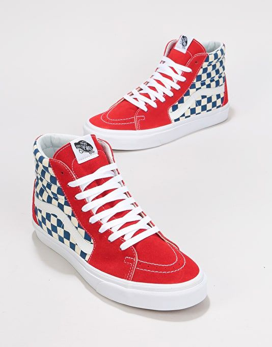 d8dc56b609 Vans Sk8-Hi Skate Shoes - (BMX Checkerboard) True Blue Red