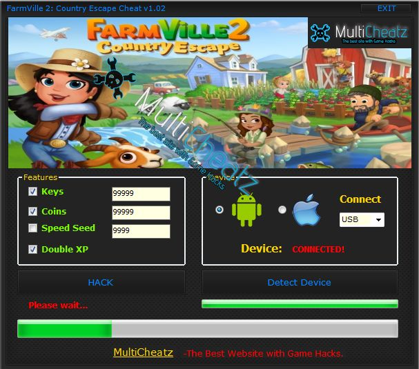 r. FarmVille 2: Country Escape Cheat iOS was made by a group of IT. The program is free of bad software, of course it works. It has been tested by us. FarmVille 2: Country Escape Coins Cheat has the same advantages! It works with any version of Android and iOS. Will give you an unlimited number of keys, coins. In addition, accelerate the growth of your crops. FarmVille 2: Country Escape Android Cheat works on a complicated algorithm, which is undetectable and