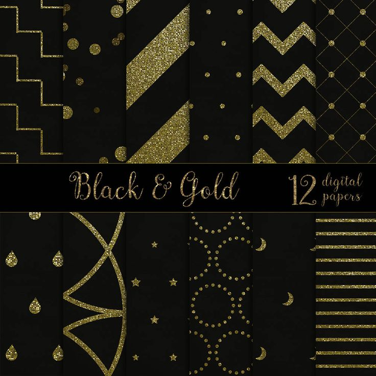 Gold and black papers, gold & black digital papers, gold black pattern papers, gold glitter backgrounds,gold pattern papers DIGITAL DOWNLOAD by theskippingcricket on Etsy