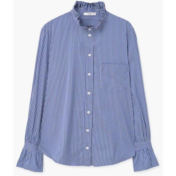 MANGO Stripe-patterned shirt (3.415 RUB) via Polyvore featuring tops, striped shirt, blue long sleeve shirt, blue striped shirt, striped long sleeve shirt и stripe top