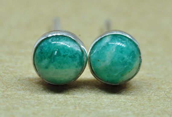 3a7092f73 Russian Amazonite earrings handmade with sterling silver studs. These green  colour earrings are made with