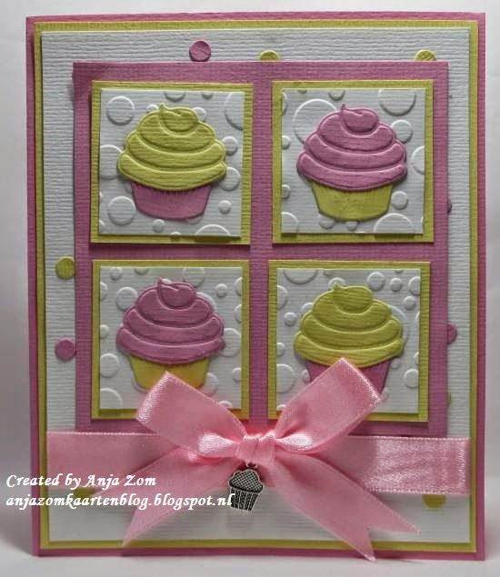 Card by DT member Anja with Creatables Mini Cake & Cupcake (LR0341), Confetti (LR0342) and Design Folder Dutch Dots (DF3402) by Marianne Design