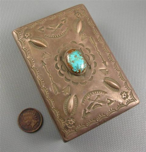 Old Navajo Fred Harvey Sterling Red Mountain Turquoise Trinket Jewelry Box 142 G   eBay