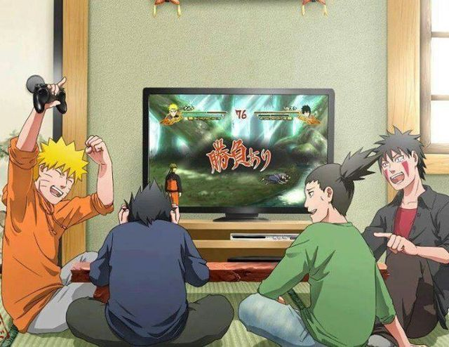 Naruto Uzumaki, Sasuke Uchiha, Shikamaru Nara, and Kiba Inuzuka.