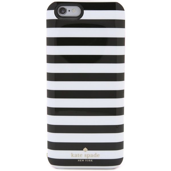 Kate Spade New York Micro Stripe iPhone 6 Charging Case found on Polyvore featuring accessories, tech accessories, phone cases, phones, phone cover, tech, micro stripe, iphone hard case, apple iphone headphones and iphone headphones