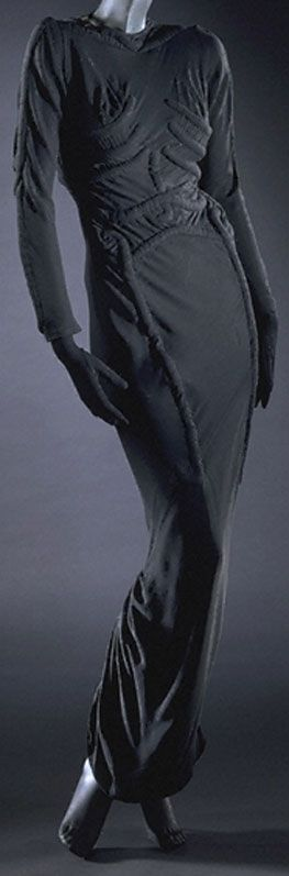 Schiaparelli 'The Skeleton Dress' - 1938 - by Elsa Schiaparelli (Italian, 1890-1973) - Silk crepe - Victoria and Albert Museum - @~ Watsonette