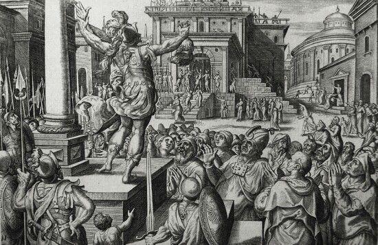 Apocrypha 199. Nicanor's death. 2 Maccabees cap 15 vv 28-35. De Vos. Phillip Medhurst Collection