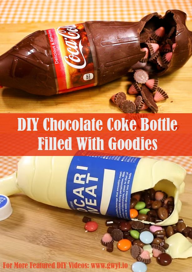 Surprise your loved ones by making this DIY chocolate Coca-Cola bottle filled with their favorite candy treats! | DIY Chocolate Coke Bottle Filled With Goodies |Learn how to make it here: http://gwyl.io/diy-chocolate-coke-bottle-filled-goodies/