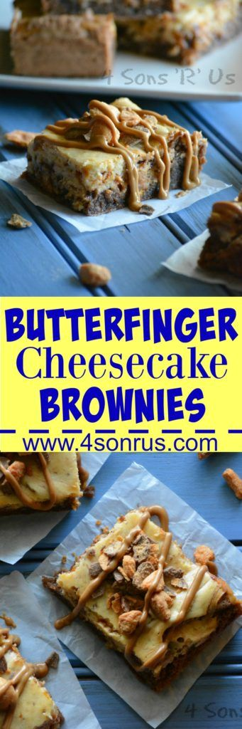 Rich, fudgey chocolate brownies are topped with a silky smooth butterfinger-flavored cheesecake swirl. Finished off with a heaping helping of crumbled candy and a creamy peanut butter drizzle– these Butterfinger Cheesecake Brownies are the stuff edible dreams are made of.