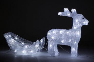 LED Rentier mit Schlitten Weihnachts-Deko 60cm