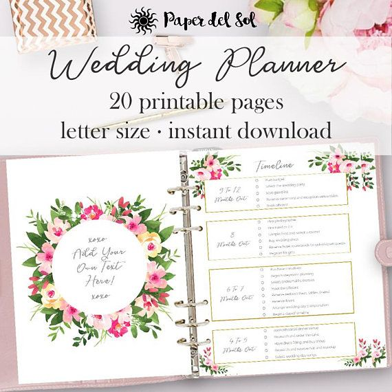 Wedding Planner Printable Planning Pages Do It Yourself