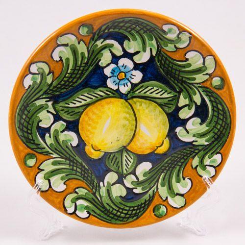 #Souvenir #Plate: #Italy. #Sicily. Two Lemons. #Caltagirone #Ceramics. Hand Made. Diameter 16 cm