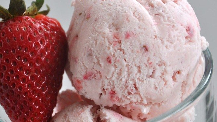 Made without eggs, the ingredients for this divinely creamy strawberry ice cream are a snap to mix and freeze in a home ice cream maker.