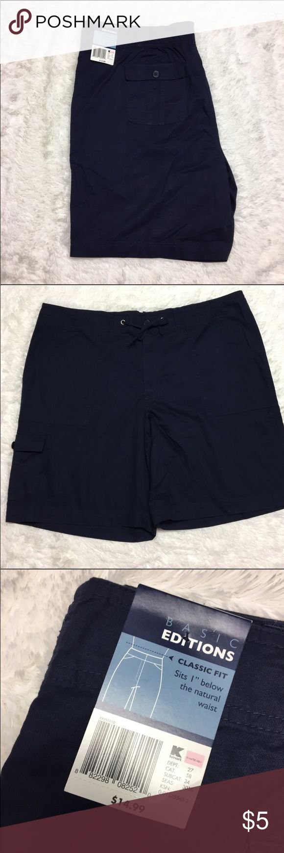 🎈🎈🎈Basic Edition Classic Fit Shorts Basic Edition Classic Fit knee length shorts women's size XXL brand new with tags. Draw string waist - Navy in color. Inventory: A Shorts