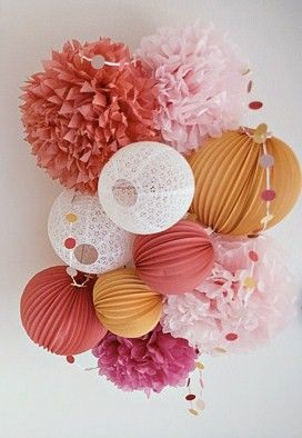 cluster of pom poms and lanterns.