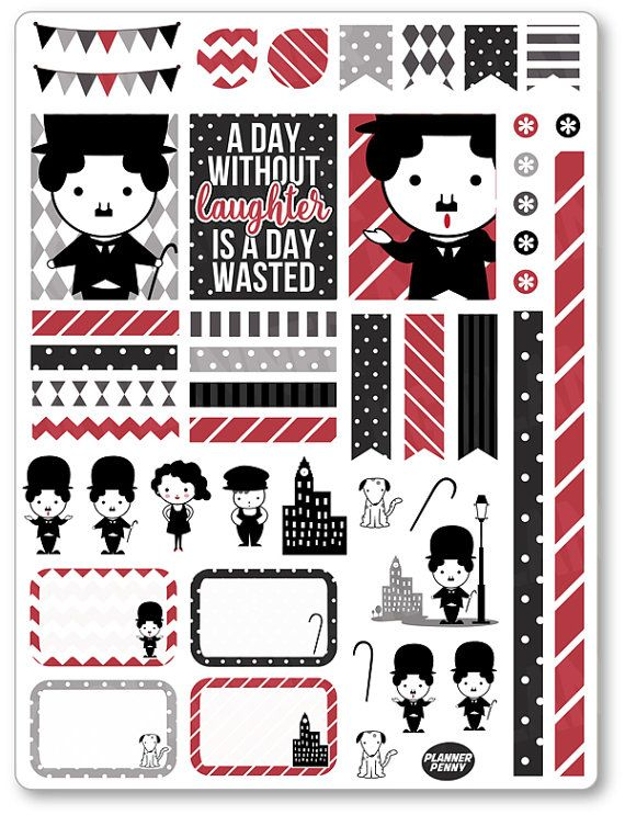 Chaplin Decorating Kit / Weekly Spread Planner Stickers for Erin Condren…