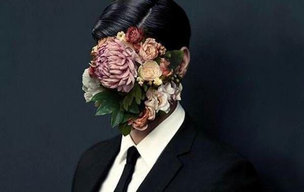 ilustración hombres flores en el rostro