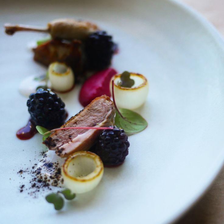 Pan Roasted Quail w/ Glazed Blackberry, Charred Onion, Red Cabbage Purée, Macadamia Milk | Keat Lee // via Foodstarz