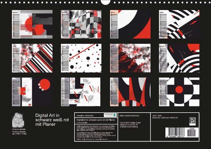 NEW with planer-function! NEU mit Planer-Funktion!!! Abstrakte Kunst in den Farben schwarz und weiß mit der Farbe rot als spannender Kontrast.  Es handelt sich hier um 12 Kunstwerke von Christine Bässler aus der 2015er Serie schwarz weiß trifft rot.  Klare Linien und geometrische Formen machen diese Bi