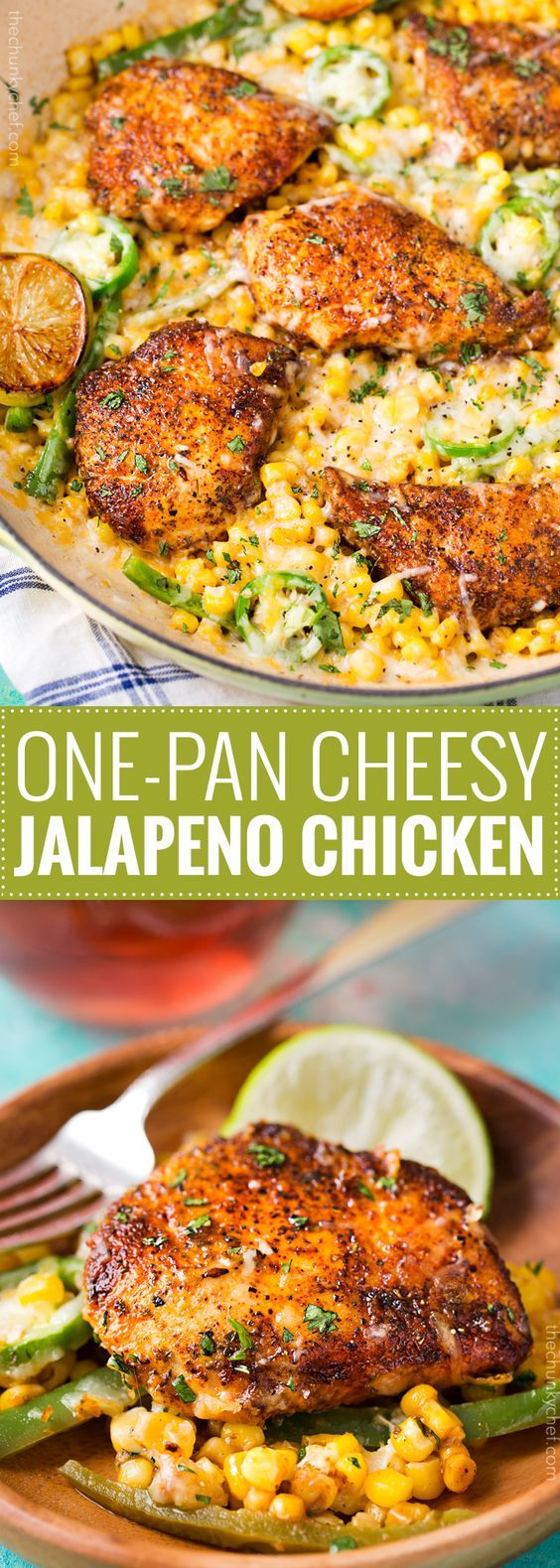 One Pan Cheesy Jalapeño Chicken | An easy weeknight meal, bursting with flavor, smothered in melty cheese, and on your table in 20 minutes! | http://thechunkychef.com (Breaded Chicken Skillet)