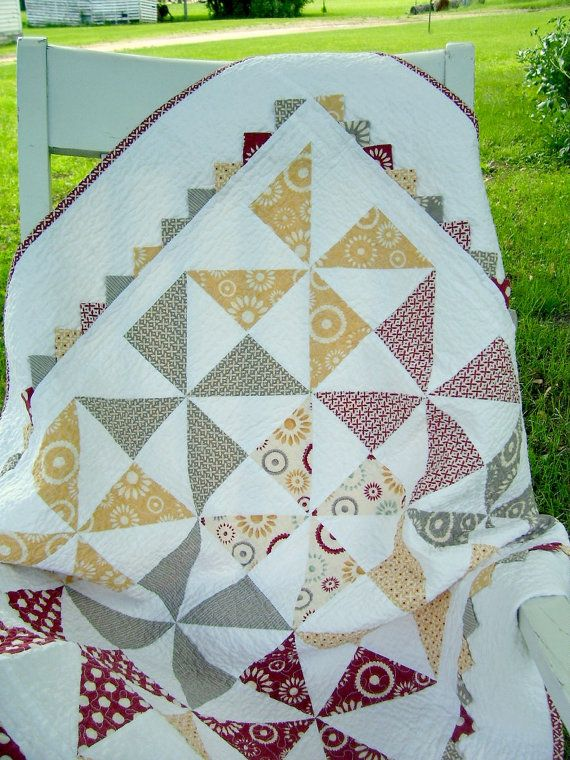 Baby Quilt Pinwheels and Prairie Points