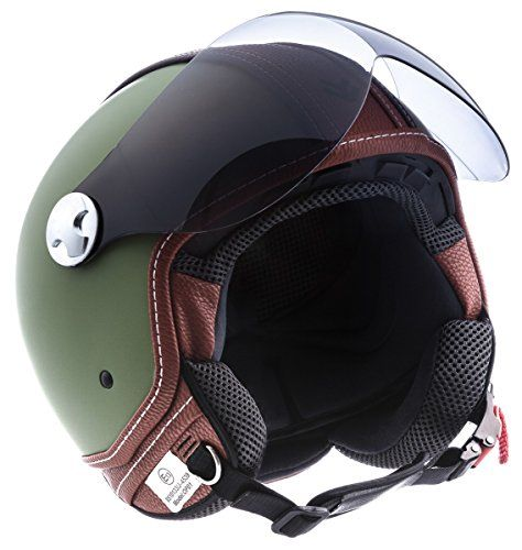 Think only! Vintage green vespa helmet