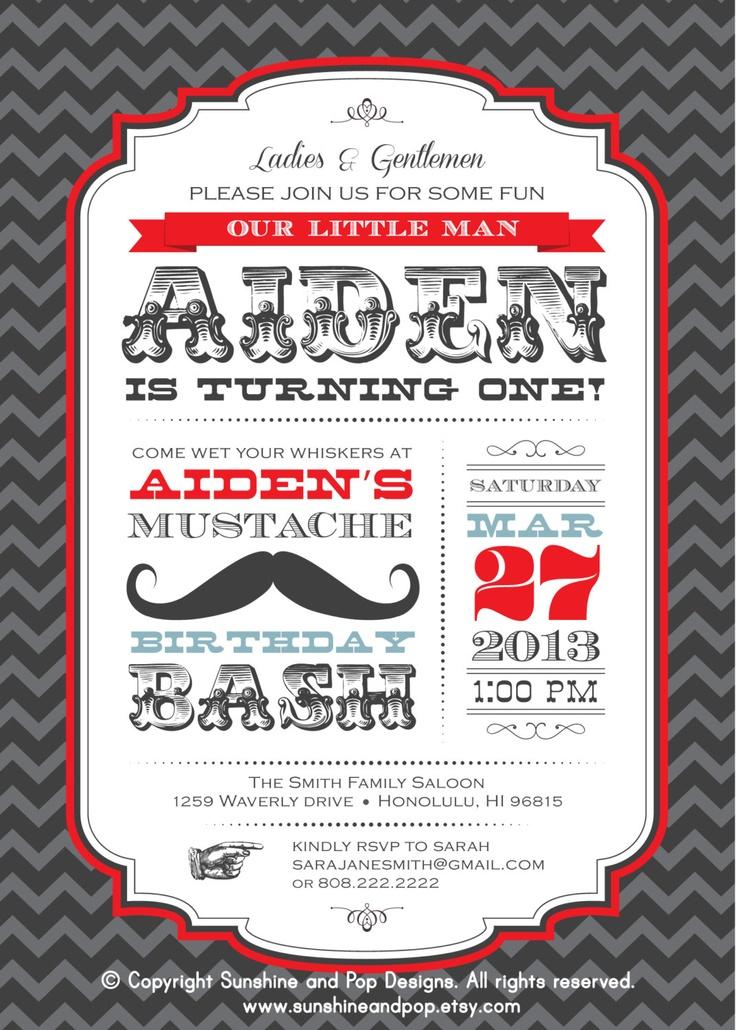 DIY Printable Invitations Little Man Mustache Birthday -   Printable Custom Invite - Moustache Party Package. $15.00, via Etsy.