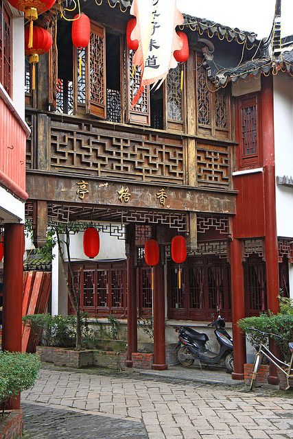 Chinese architectural elements. Latticework on building elements, windows and doors.