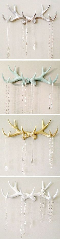 Antlers For Your Necklaces In Silver, Mint, Gold & White ♥ #antlers #love #diy #idea