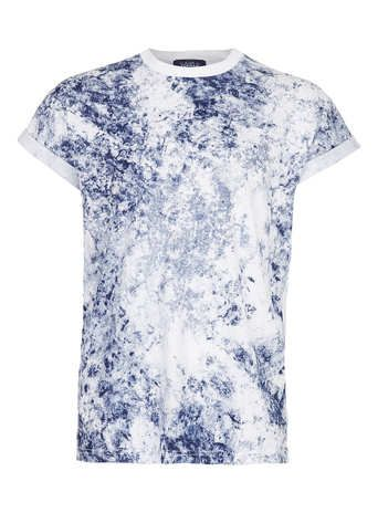 NAVY WASHED HIGH ROLL T-SHIRT - Men's T-Shirts & Vests  - Clothing